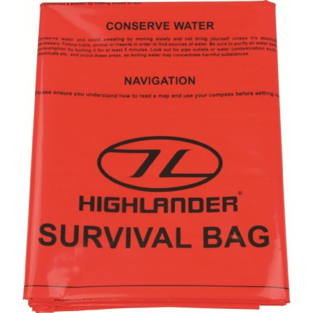 HIGHLANDER OUTDOOR EMERGENCY SURVIVAL BIVI BAG 90X180CM ORANGE